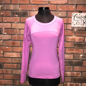 Forever 21 Long Sleeve Silky Athletic Shirt Pink